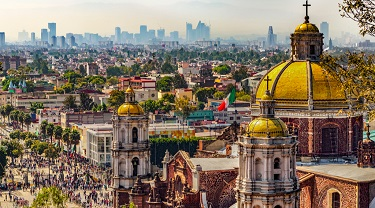 Basilica and cityscape of Mexico City