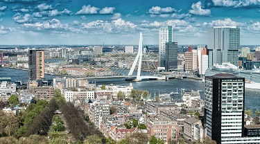 Beautiful aerial view of Rotterdam, Netherlands skyline