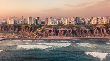 Panorama of the Miraflore Coast in Peru