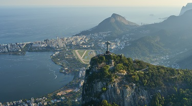 Skyview of Brazil with Corcovado statue