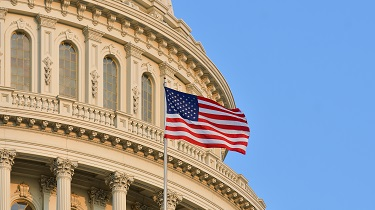 American flag flies at U.S. Capitol