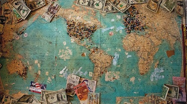 Different currencies are displayed on a world map.