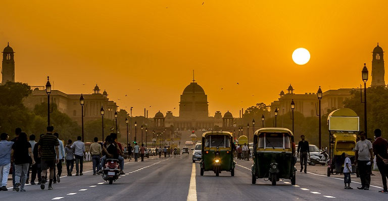 Sunset behind the official residence of the president of India in New Delhi.