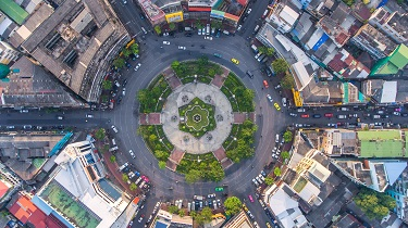A traffic circle as seen from above