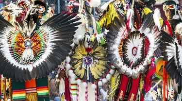 Ceremonial feathered headdresses at powwow