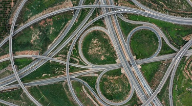 Aerial view of highway intersection