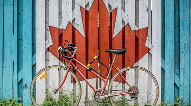 bike against fence painted with a maple leaf