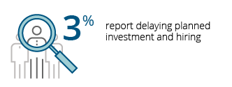 3% report delaying planned investment and hiring