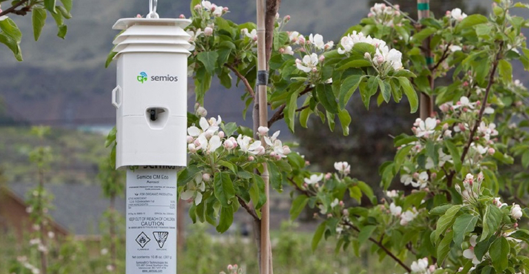 Semios technology out in an orchard field